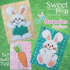 Cute bunnies applique 5x7 6x10 7x12 in the hoop (1)