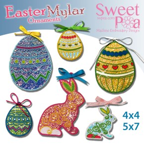 Easter Mylar Ornaments 4x4 5x7 in the hoop