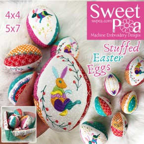 Stuffed easter eggs 4x4 5x7 in the hoop
