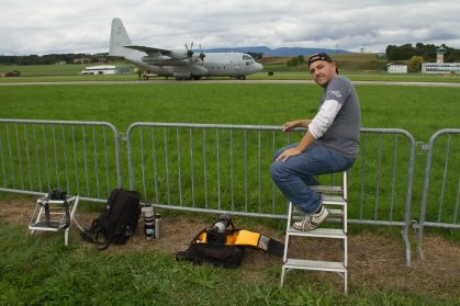Remo Garone at LSMP Payerne Air Force base with his good friend Tomasz Chrul, looking at a nice swedish C-130.