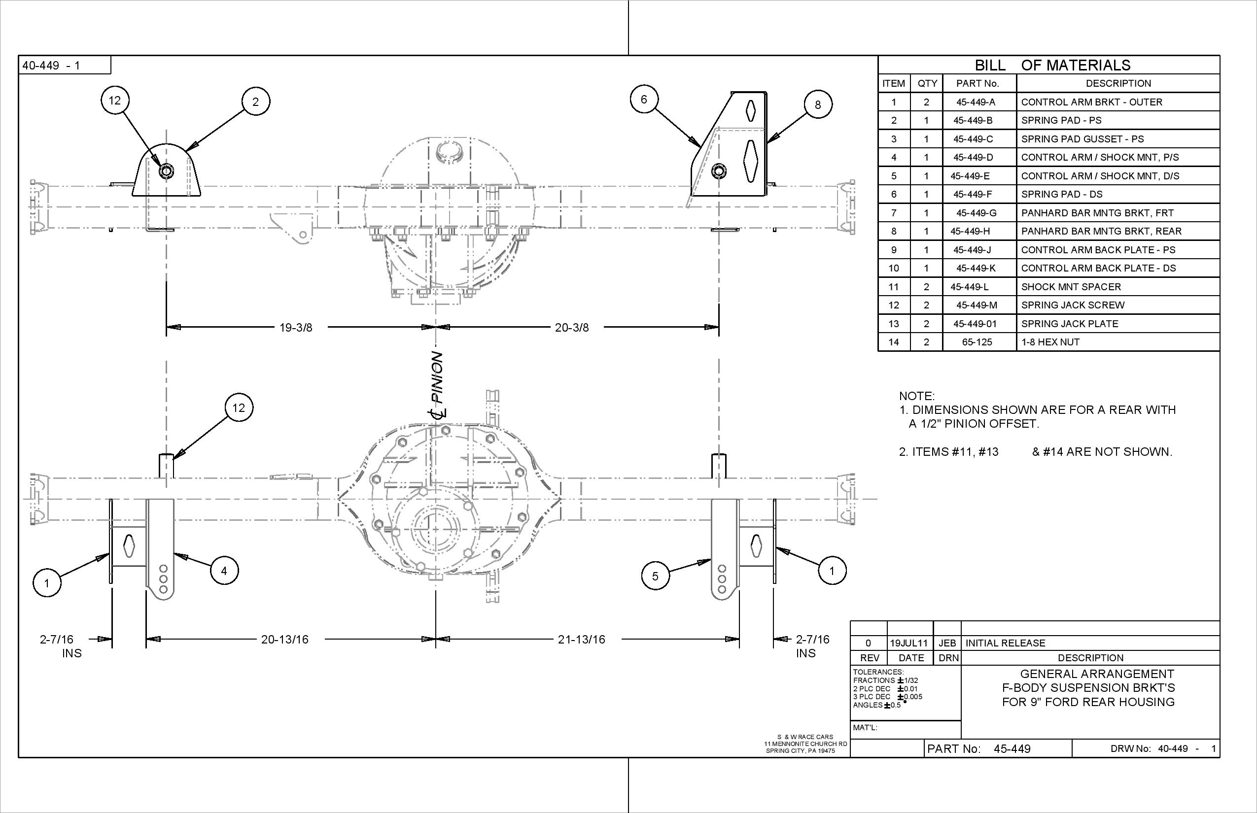 82 03 Camaro Rear Suspension Bracket Kit S Amp W Race Cars