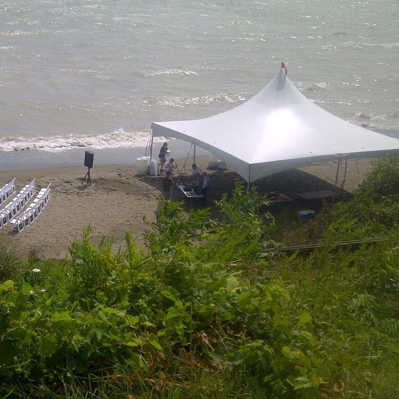 illustrates beach wedding tent rentals