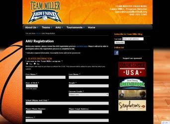 Team Miller Website Registration Form