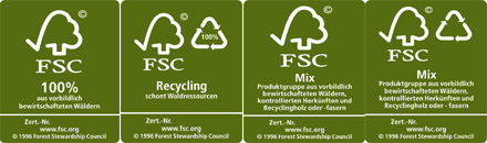 Das FSC-Label unterteilt sich in drei Kategorien: FSC Pure, FSC Mixed Sources und FSC Recycling.  © 1996 Forest Stewardship Council A.C.