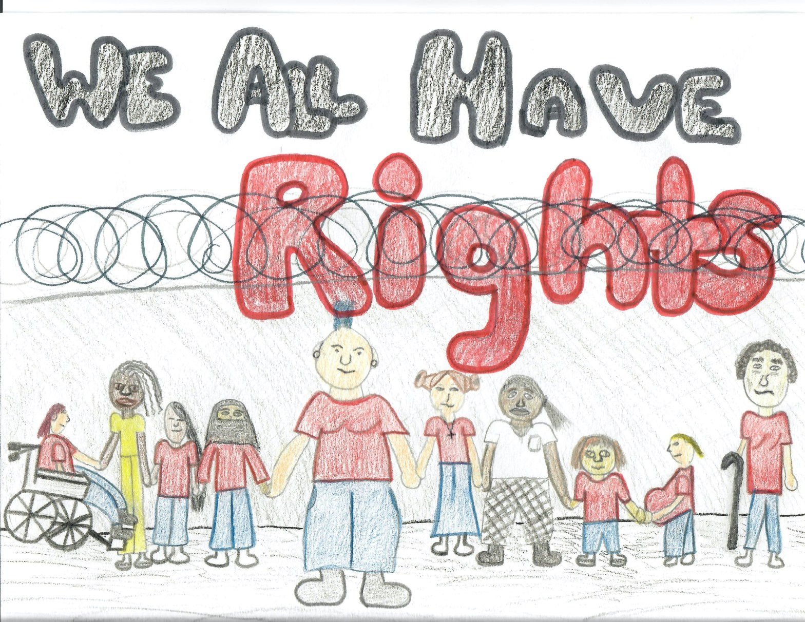 "People hold hands in a line in front of a prison wall topped with barbed wire. The words ""We All Have Rights"" cross the sky in red and black."