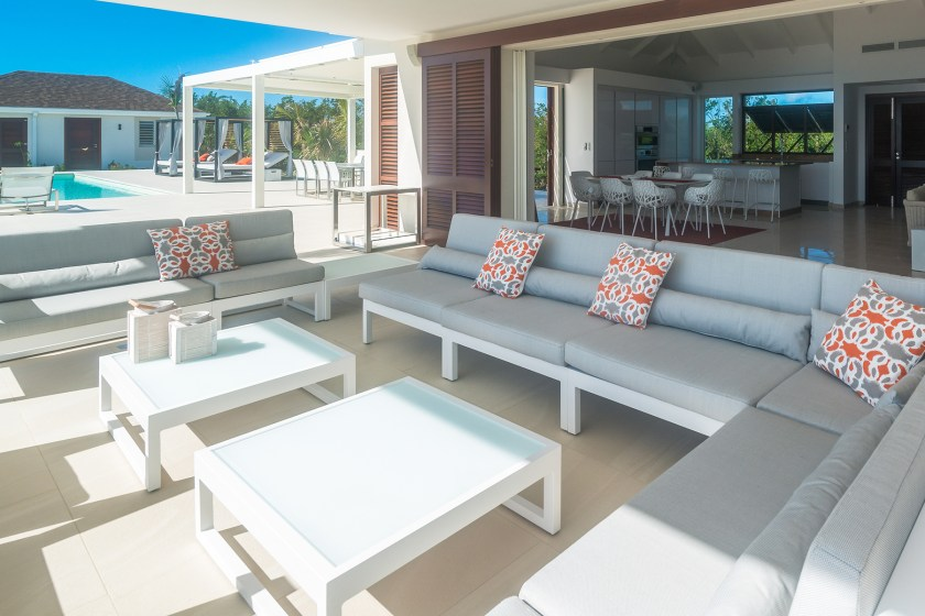 outdoor seating area at villa turtle nest in st martin