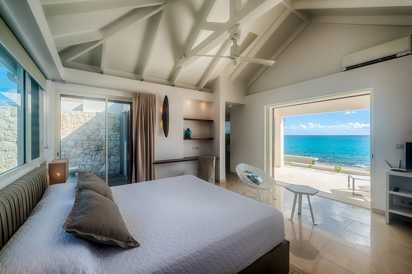 Ocean views from the bedroom at villa turtle nest