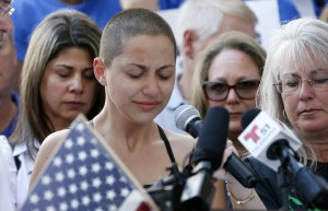 Marjory Stoneman Douglas High School student Emma Gonzalez speaks at a rally for gun control at the Broward County Federal Courthouse in Fort Lauderdale, Florida on February 17, 2018. A former student, Nikolas Cruz, opened fire at the high school leaving 17 people dead and 15 injured on February 14. / AFP PHOTO / RHONA WISE (Photo credit should read RHONA WISE/AFP/Getty Images)