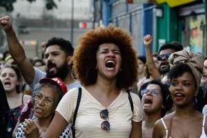 Demonstrators carry out act after Councillor Marielle Franco on Paulista Avenue in Sao Paulo, on Sunday, 18 March 2018. Marielle Franco and your driver Anderson Pedro Gomes, were shot dead on Wednesday night 14 March 2018, in the central region of the city of Rio de Janeiro. (Photo by Fabio Vieira/FotoRua/NurPhoto)