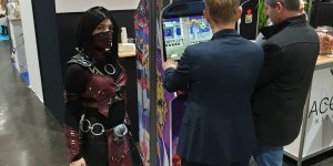 Mileena from Mortal Kombat X at FIC 2019 for Acorus Networks