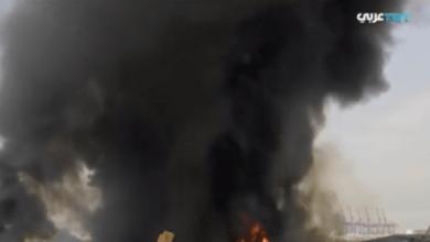 صورة حريق جديد في مستودع للإطارات والزيوت بمرفأ بيروت