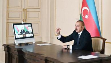 صورة رئيس أذربيجان يعلن تحرير مدينة جبرائيل من الاحتلال الأرميني