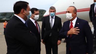 صورة جاوش أوغلو يصل إلى أذربيجان لبحث تطورات قره باغ المحتل
