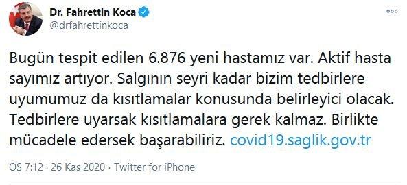fahrettin koca12 - إحصائيات كورونا (كوفيد-19) 26.11.2020 في تركيا!