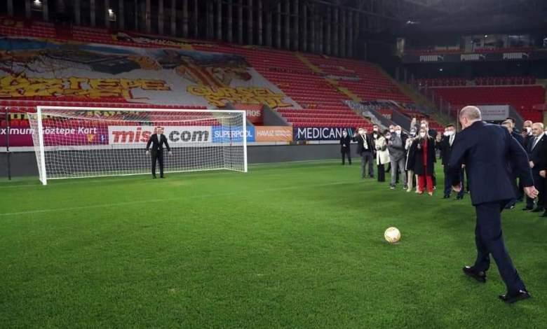 1614063325OPNBV - بالفيديو.. أردوغان يفتتح ملعب كرة قدم بركلة جزاء