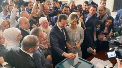 صورة تصريحات للأسد ضـ.ـد الغرب بعد إدلاءه بصوته في مدينة دوما..