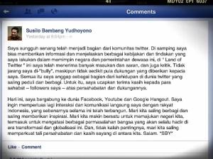 Postingan Perdana SBY di FB