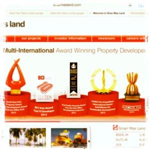 Award Bagi Sinar Mas Land (sumber: websites Sinar Mas Land)