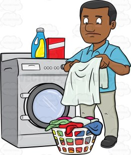 A black guy with dark and short clean cut hair, wearing a blue collared shirt, light gray pants, black shoes, frowns as he stares at the grayish white fabric he is holding with both hands, a blue jar of bleach with yellow label and white cap, as well as a red with white stripe detergent powder box, sits on top of a gray front loading washer on his right, a white plastic round laundry basket that is full of multicolored garments are placed on the floor