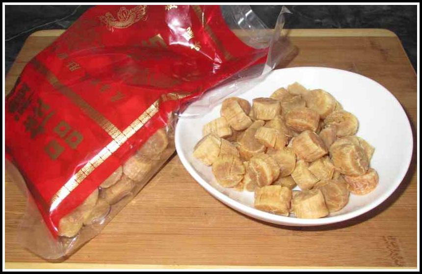A package of Dried Scallops (Conpoy)