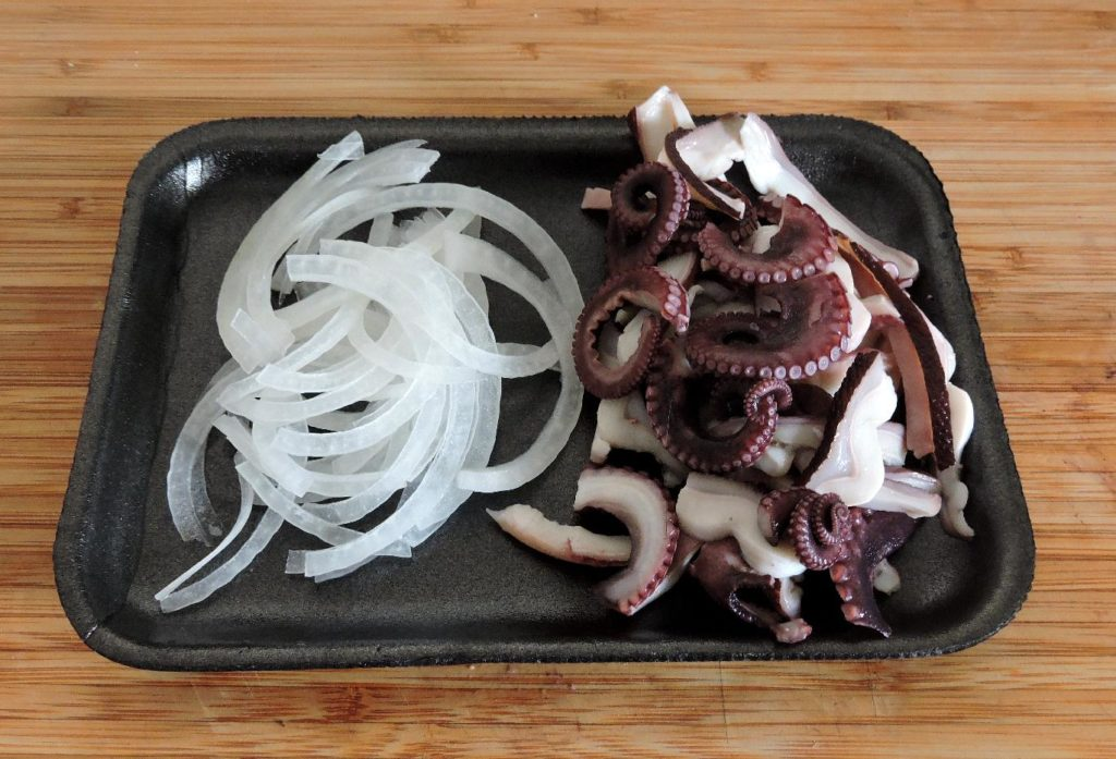 Octopus and Onion ready to make a Banchan
