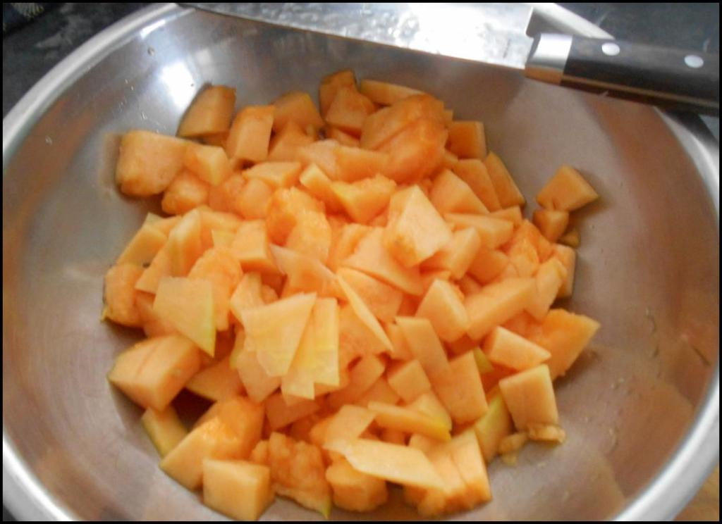 One Cantaloupe diced and ready to make sauce.