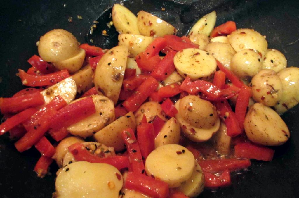 Frying the Potatoes and Red Peppers
