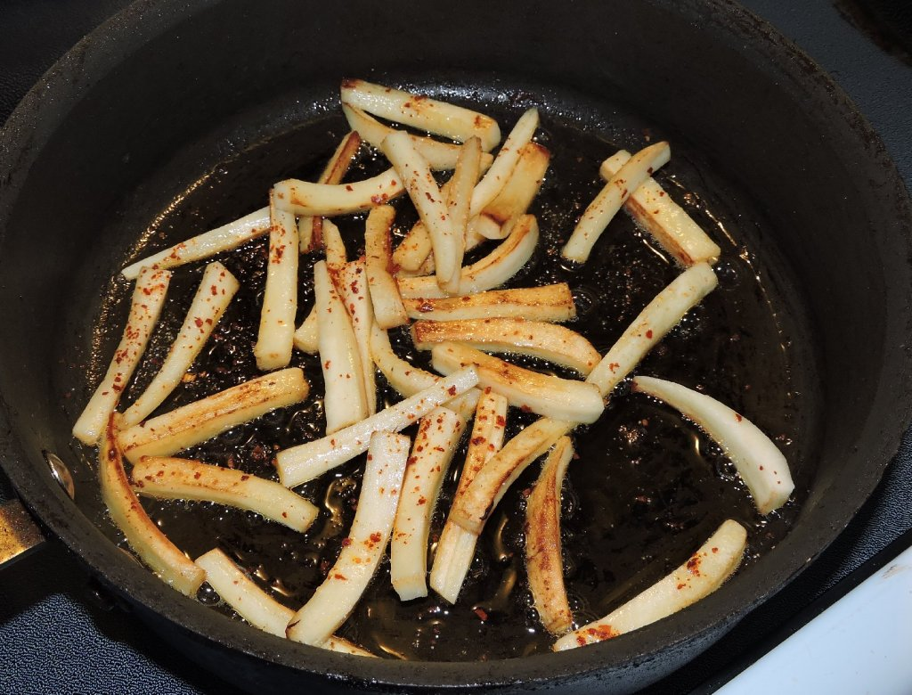 Sautéing the Parsnip with seasonings