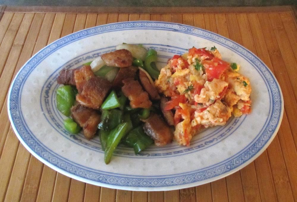 A serving of Tomatoes Stir-Fry Eggs - 番茄炒蛋