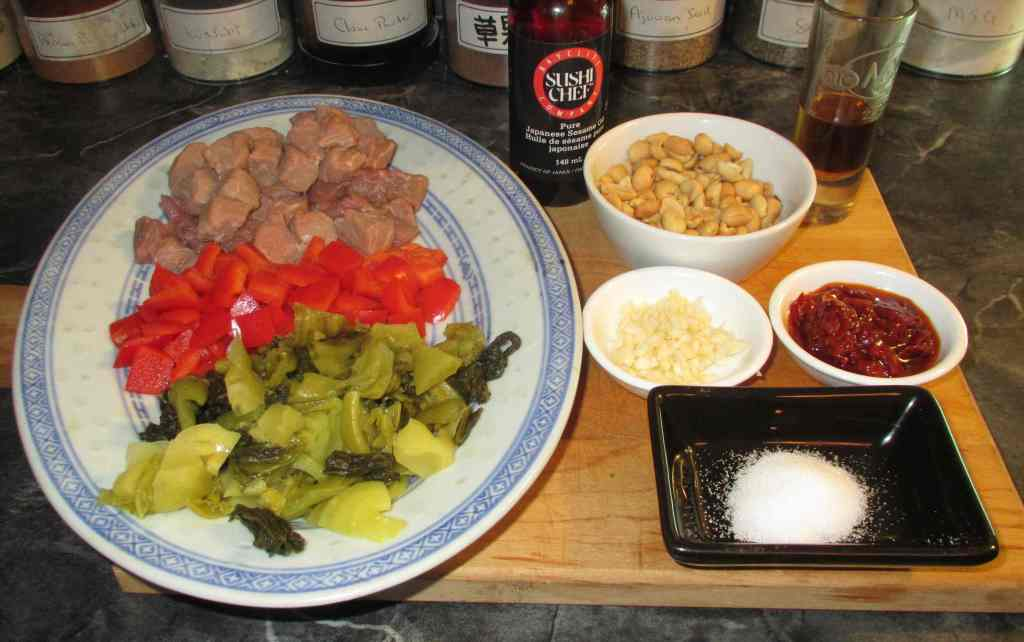 The Ingredients for Sichuan Pickled Mustard Beef