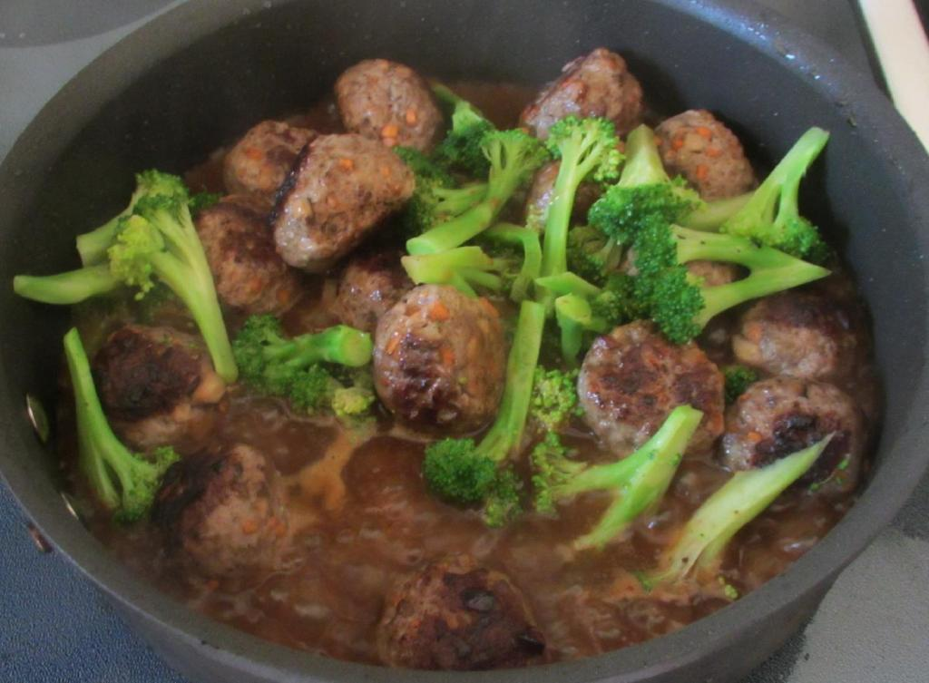 Finishing the Beef Balls and Broccoli