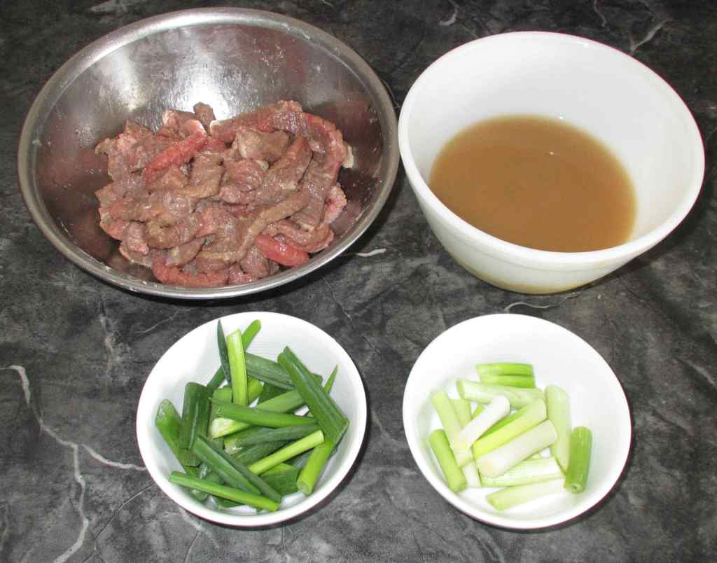 Preparing the Main Ingredients for Mushroom Scallion Beef