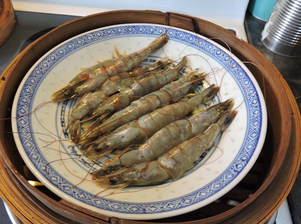 Steaming butterflied Shrimp