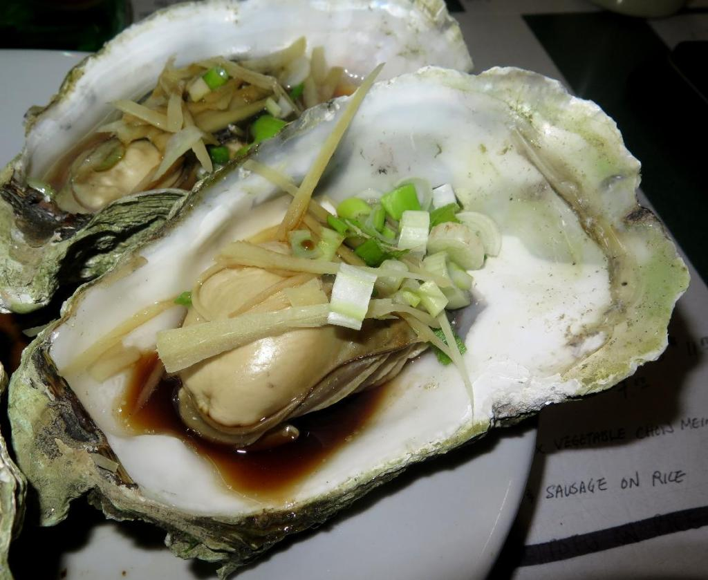 Oysters Steamed with Scallion and Ginger