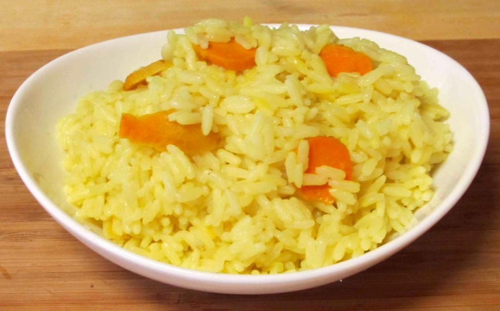 Rice Boiled with Slices of Fresh Turmeric