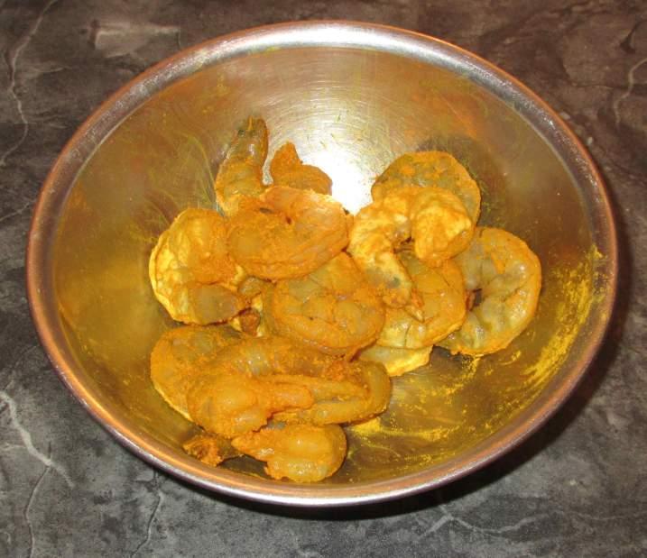 Marinating Shrimp with Turmeric Powder