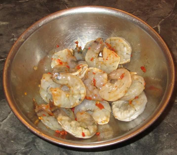Marinating Shrimp with Sugar and Chili