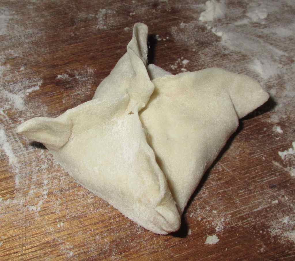 A dumpling formed with the 'Mermaid's Purse' Fold