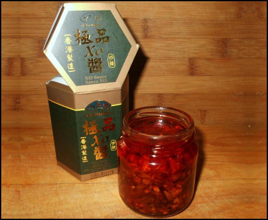 An opened jar of XO Sauce