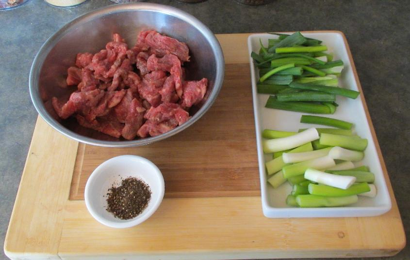 The Main Ingredients for Beef with Cumin and Scallion