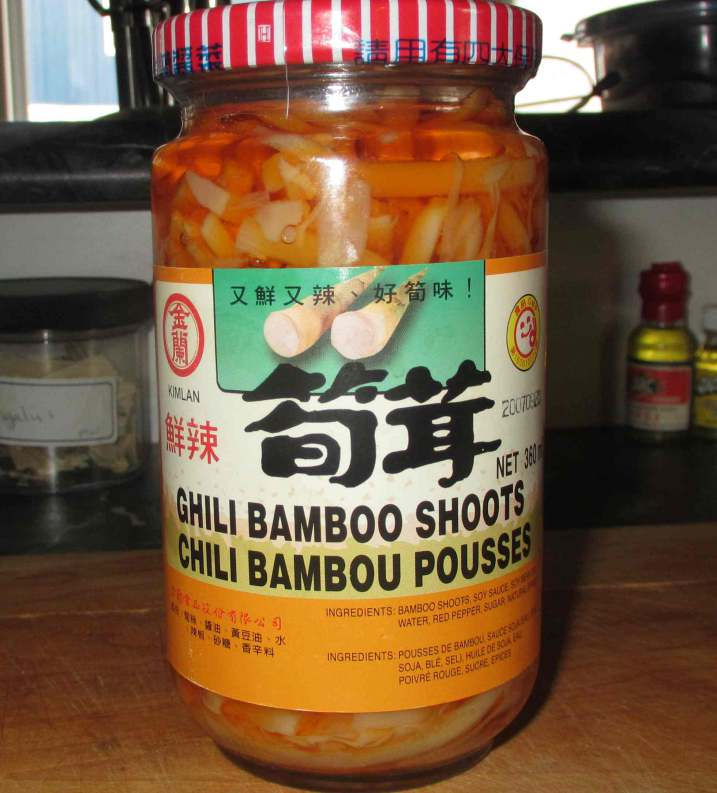 A jar of Chili Pickled Bamboo Strips