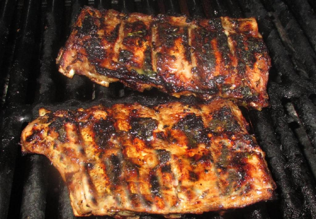 Finishing Ribs with a glaze over a high flame
