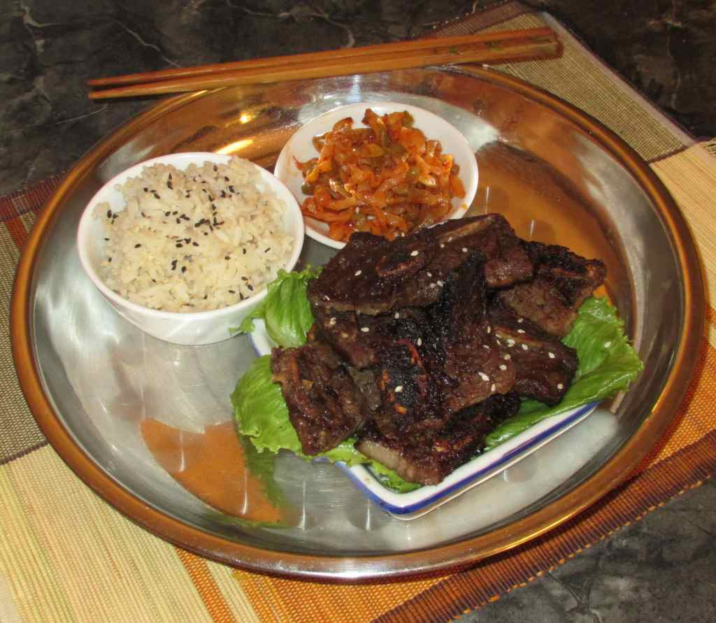 A portion of Korean Sweet Grilled Beef Ribs in a Meal