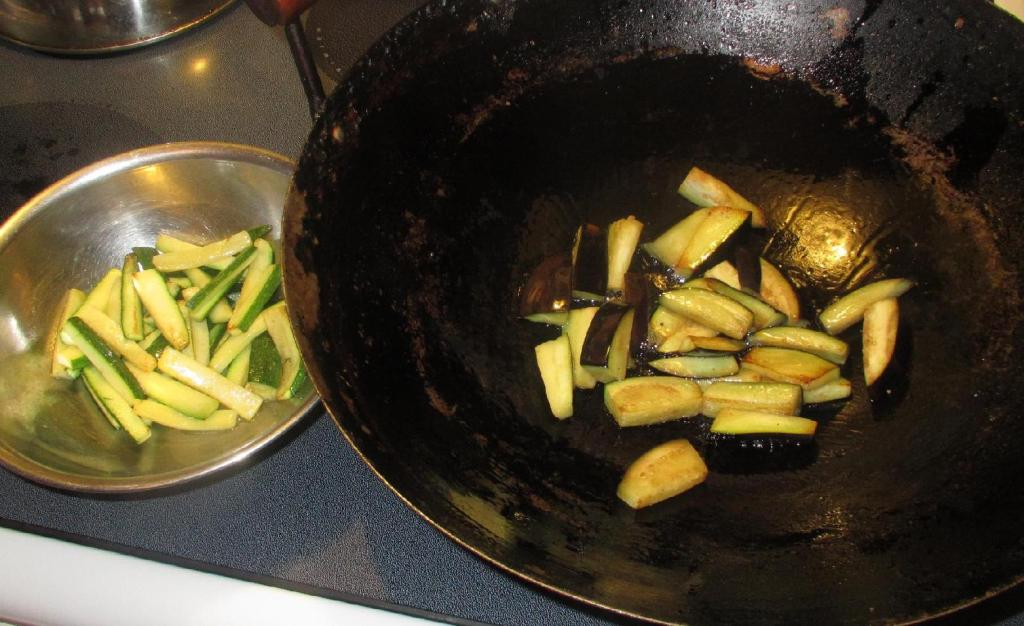Pre-frying Zucchini and Eggplant