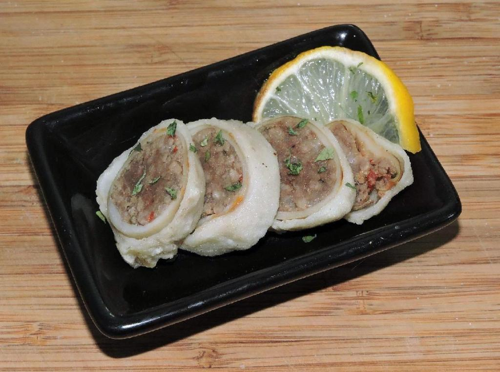 Slices of Beef Stuffed Baby Squid