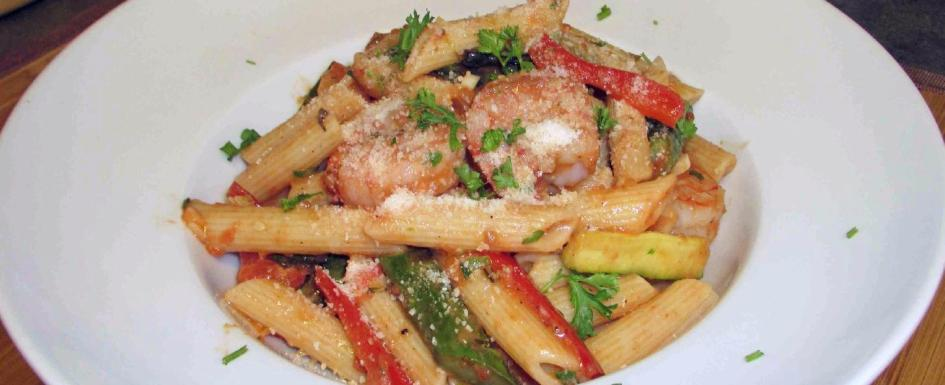 Penne with Shrimp and Roasted Vegetables