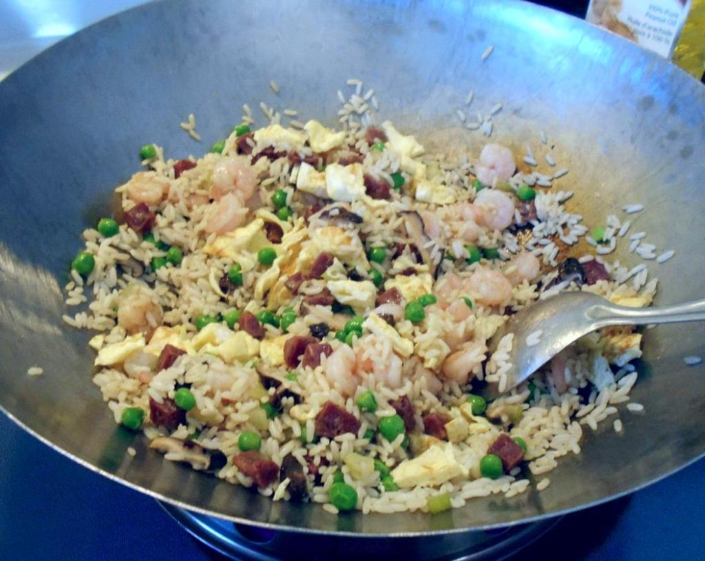 Finishing Shrimp and Sausage Fried Rice