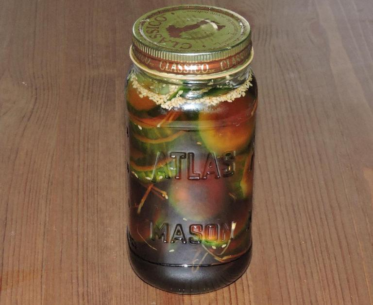 A jar of Soy-Pickled Cucumber