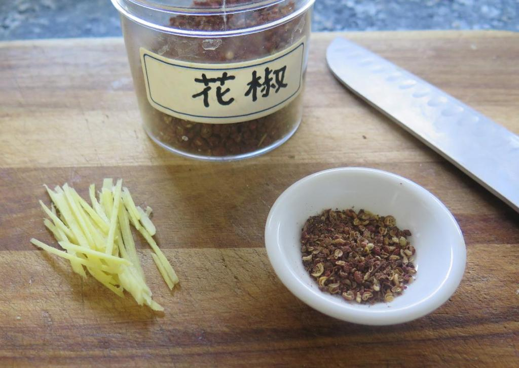 Ginger slivers and Coarsely ground Sichuan Pepper