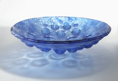 Pierre Bouchard Light Blue Fused Glass Asteroid Bowl
